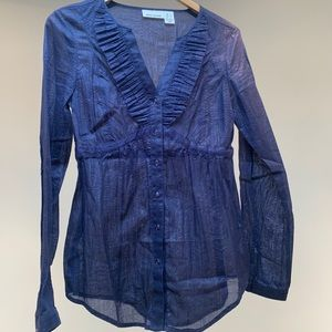 DKNY Jeans sheer long sleeve blouse.